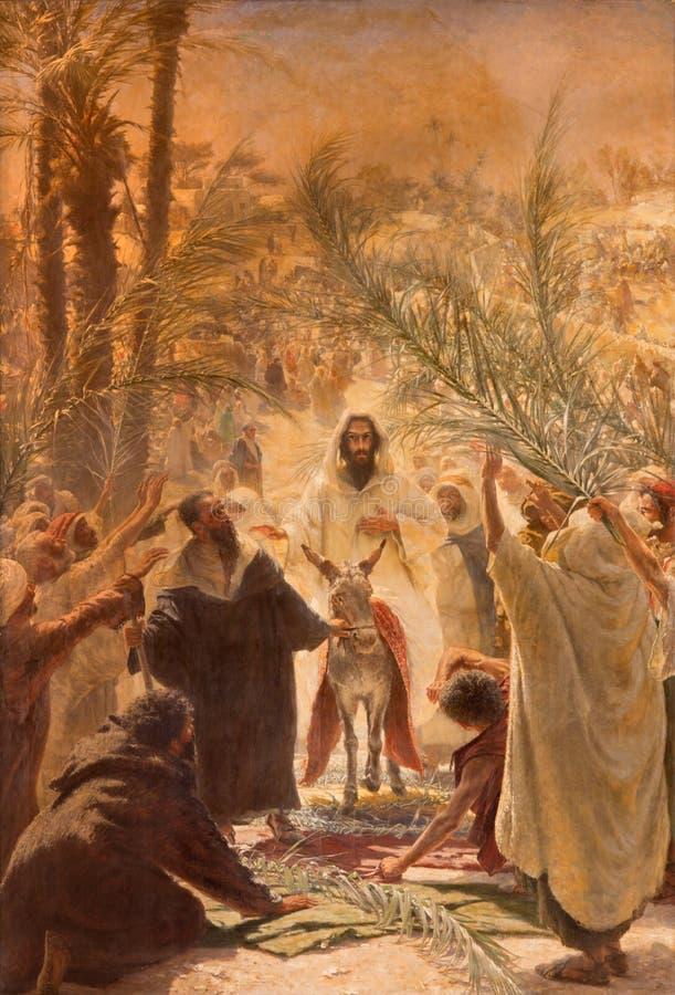 Jerusalém - a pintura da entrada de Jesus no Jerusalém (palma Sandy) Pintura na igreja luterana evangélica da ascensão fotografia de stock royalty free