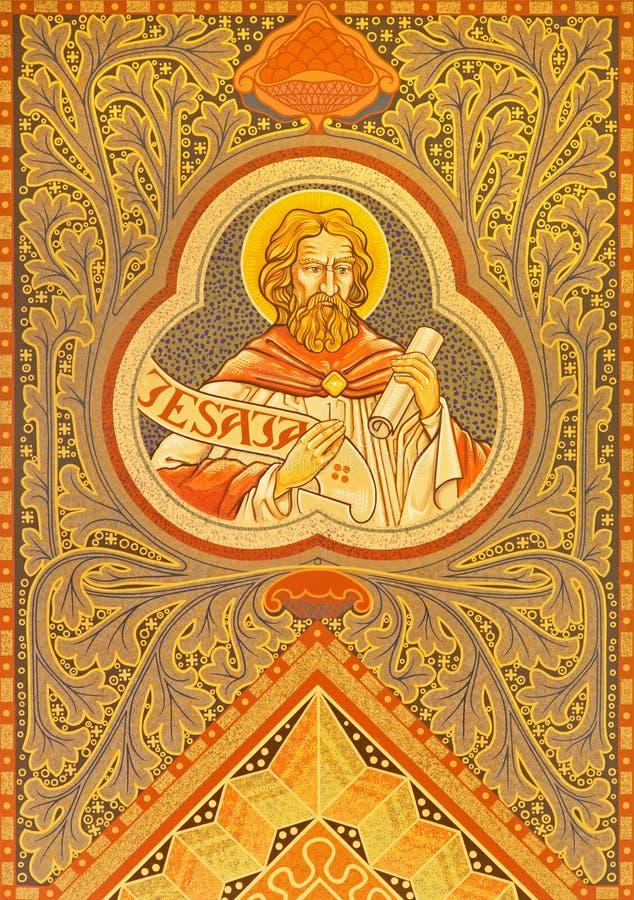 Jerusalém - profeta Jesaja Mosiaic no altar lateral da igreja luterana evangélica da ascensão imagens de stock royalty free