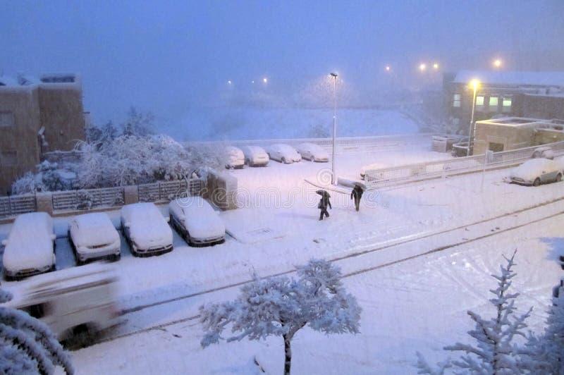 Jerusalén del blanco: La nieve cae en capital fotos de archivo libres de regalías