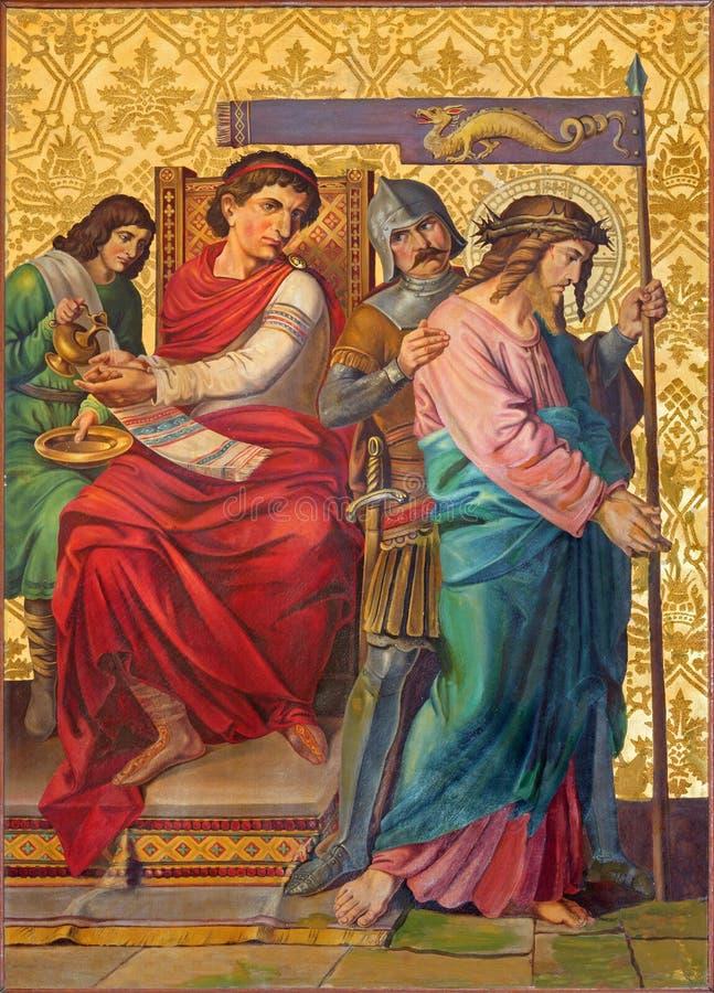 Jerusalén - el juicio de Jesús de la pintura para Pilate del final de 19 centavo fotografía de archivo libre de regalías