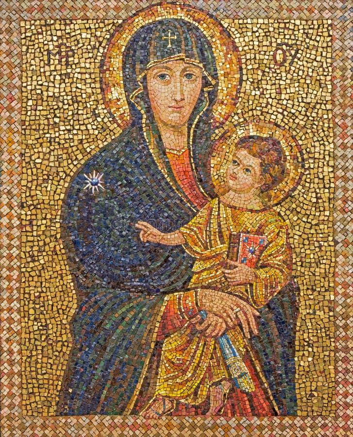 Jerusalén - el mosaico de Madonna en la abadía de Dormition fotografía de archivo
