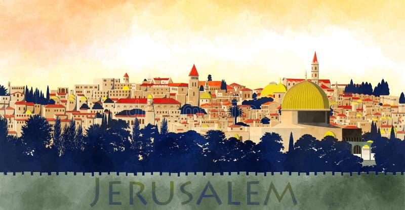 Jerusalén, Israel: vista de la bóveda de la roca y de la ciudad vieja libre illustration