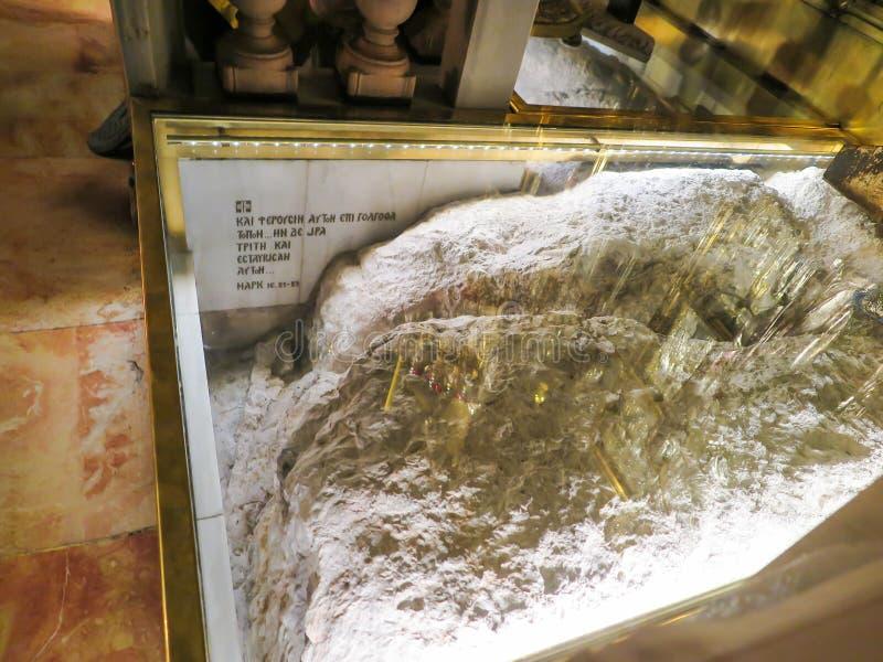 JERUSALÉN - Juli 15: Golgotha de piedra, el lugar de la muerte i de Jesús foto de archivo libre de regalías