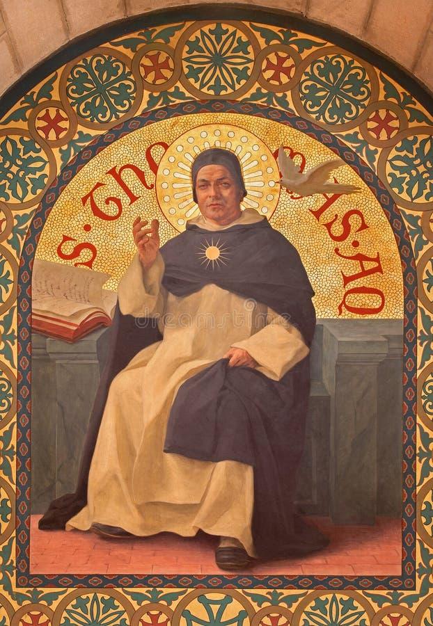 Jerusalén - la pintura del filósofo escolástico Saint Thomas de Aquinas en iglesia del st Stephens a partir del año 1900 de Josep fotos de archivo