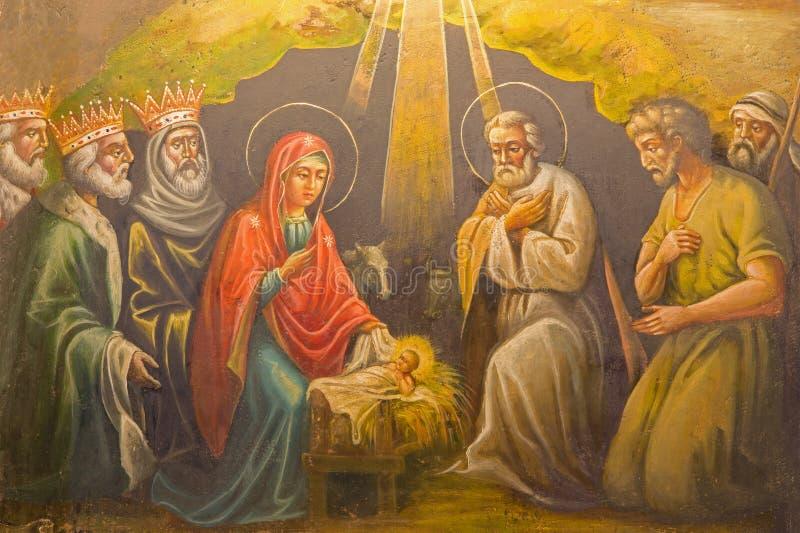 Jerusalame - o fresco da natividade na igreja ortodoxa grega da suposição (túmulo de Marys) no Vale de Kidron imagem de stock royalty free