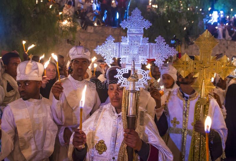 Ethiopian holy fire ceremony. JERUSALEM - APRIL 15 : Ethiopian Orthodox pilgrims participates in the Holy fire ceremony at the Ethiopian section of the Holy stock photography