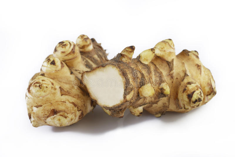 Jerusalem artichoke on white stock photography