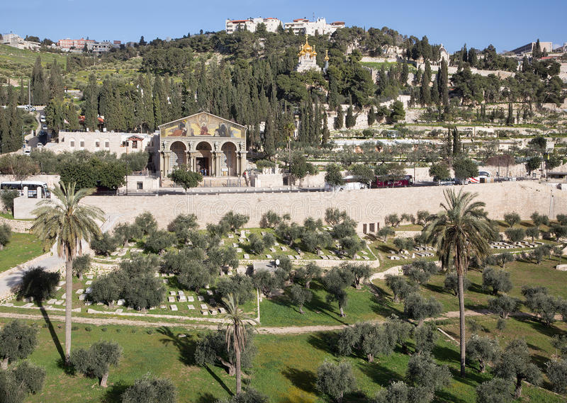 Jerusalem - The churches - Church of All Nations, Dominus Flevit and church of Hl. Ma Magdalene on the Mount of Olives. stock photos