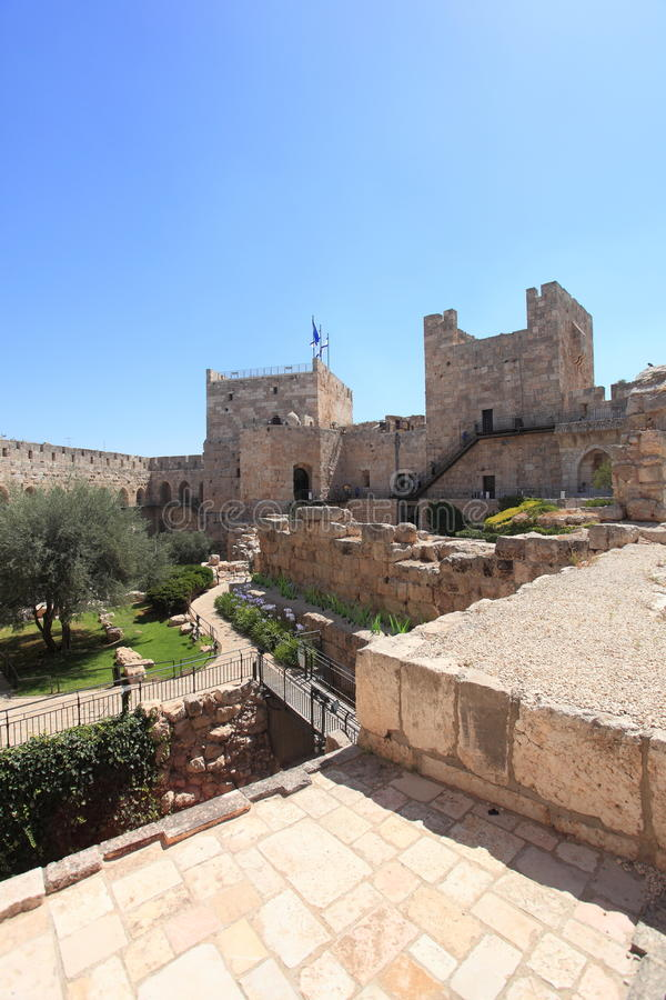 Jerusalem Citadel Archaeological Courtyard. The Phasael Tower, the walls and the archaeological courtyard of the Tower of David, or Jerusalem Citadel, located royalty free stock image