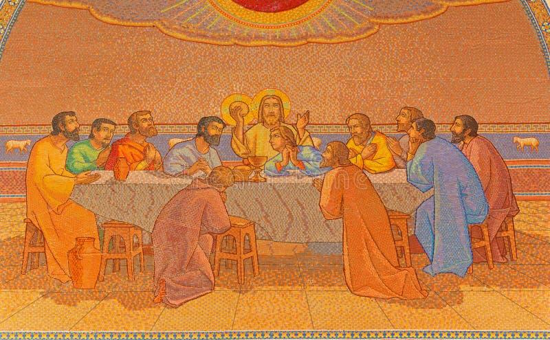Jerusalem - das letzte Abendessen Mosaik in der Kirche von St Peter in Gallicantu stockbild
