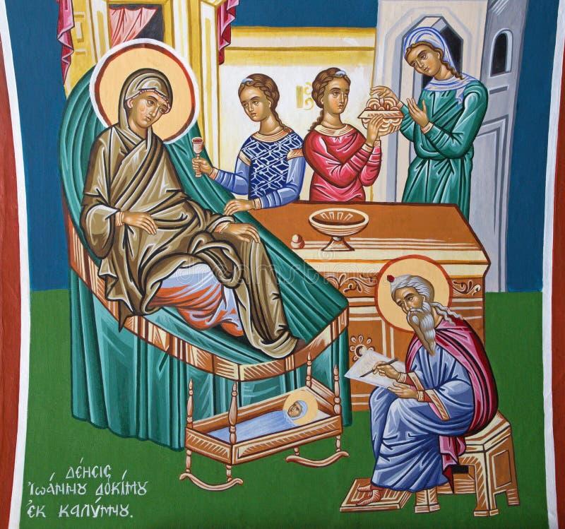 Jerusalem - freskomålningen av Kristi födelse av St John den baptistiska platsen i grekisk ortodox kyrka av St John det baptistis royaltyfri bild