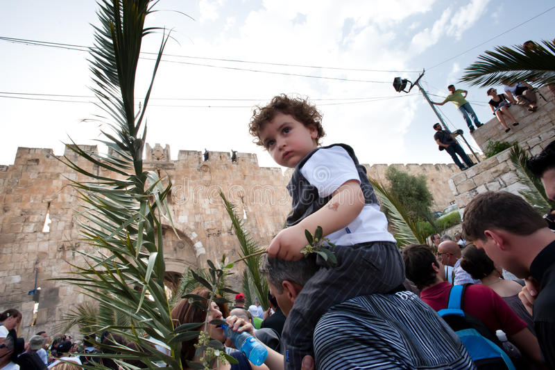 jerusalem gömma i handflatan processionen sunday arkivbild