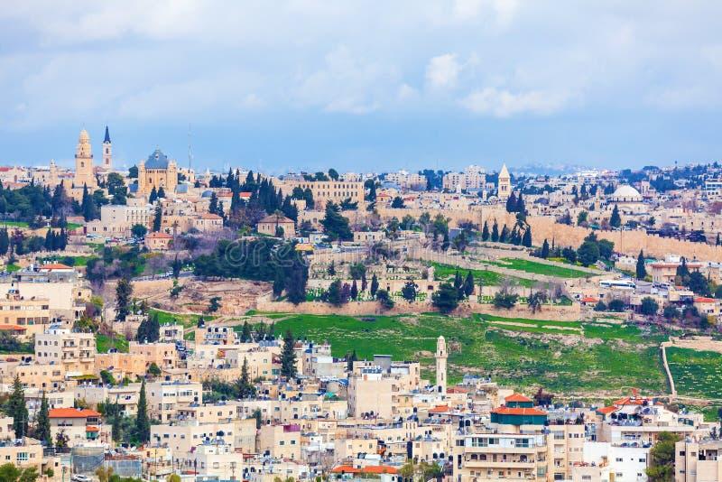 Jerusalem gammal stad och tempelmontering royaltyfri bild
