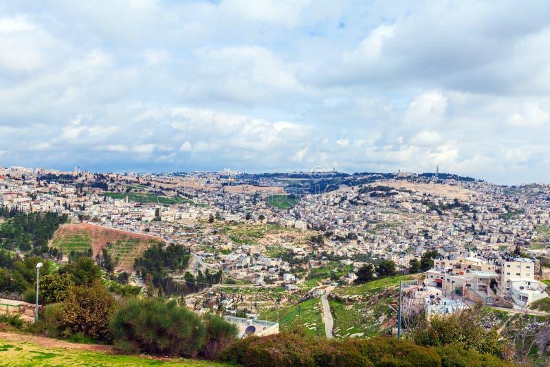 Jerusalem gammal stad och tempelmontering arkivbilder