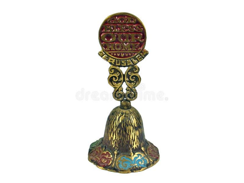 Jerusalem Holy-land bell isolated. God bless our home Jerusalem Holy-land bell isolated on white stock photography