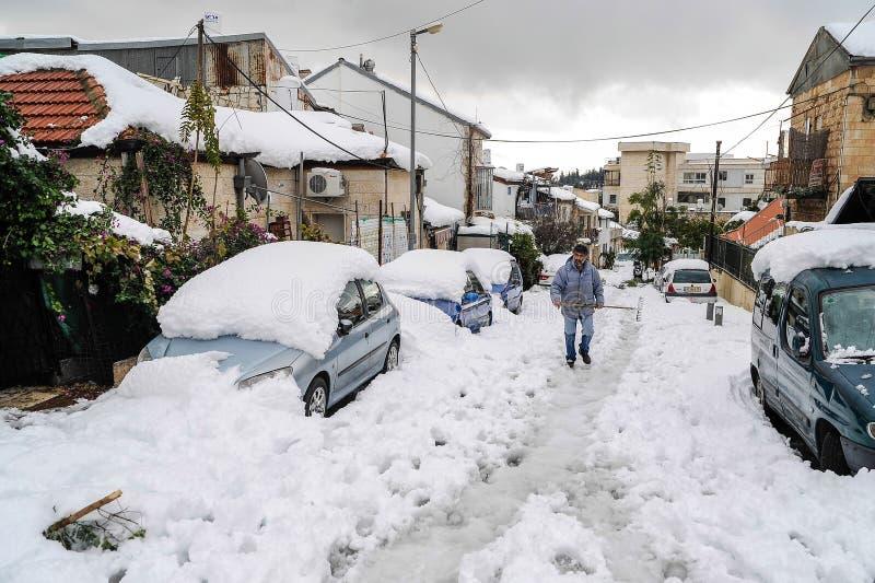 Jerusalem i snö redaktionell foto. Bild av katastrof 35981820