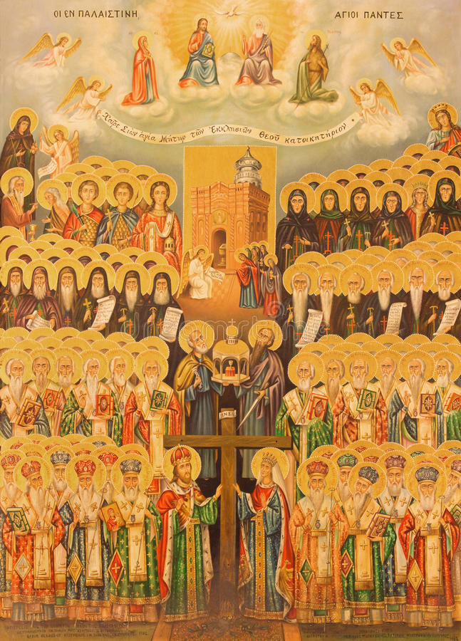 Jerusalem - The icon of Hierarchy of Heaven in Church of Holy Sepulchre. By unknown artist from year 1982 stock photography