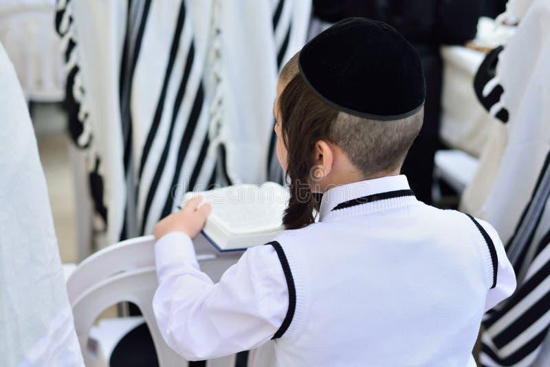 JERUSALEM ISRAEL - APRIL 2017: Judiska hasidic ber Westeren royaltyfri bild