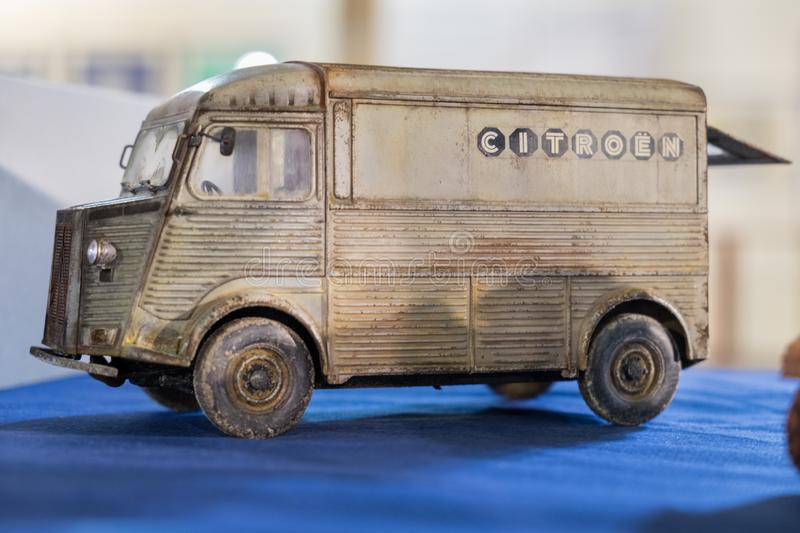 Scale model of Vintage retro Citroen minibus royalty free stock images