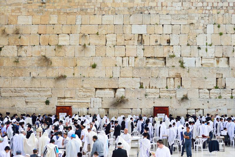JERUSALEM, ISRAEL - APRIL 2017: The Western wall or Wailing wall is the holiest place to Judaism in the old city of Jerusalem, Is. Rael stock photography
