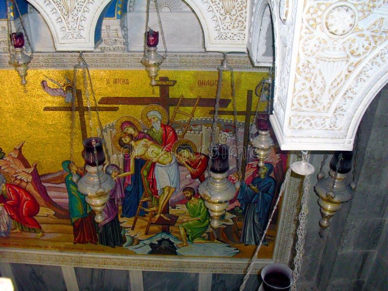 JERUSALEM ISRAEL Church av helgedomen begraver Sikt inom royaltyfria foton