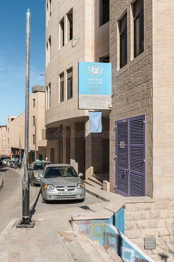 Office UNRWA - department of microfinance - Bethlehem branch in Bethlehem in Palestine. Jerusalem, Israel, December 28, 2018 : Office UNRWA - department of royalty free stock photo