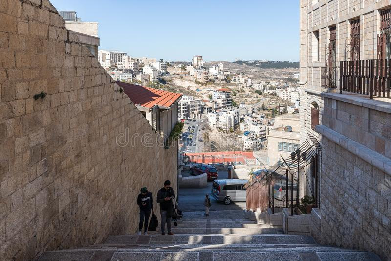View of Bethlehem from the square nearby to Chapel of Saint Catherine in Bethlehem in Palestine. Jerusalem, Israel, December 28, 2018 : View of Bethlehem from royalty free stock images