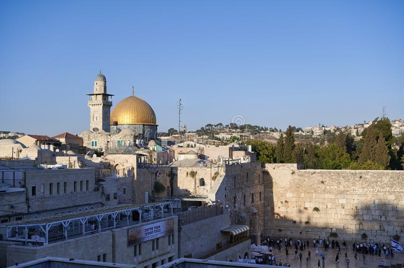 Jerusalem Israel. Dome of the rock, temple mount and wailing wall stock photo