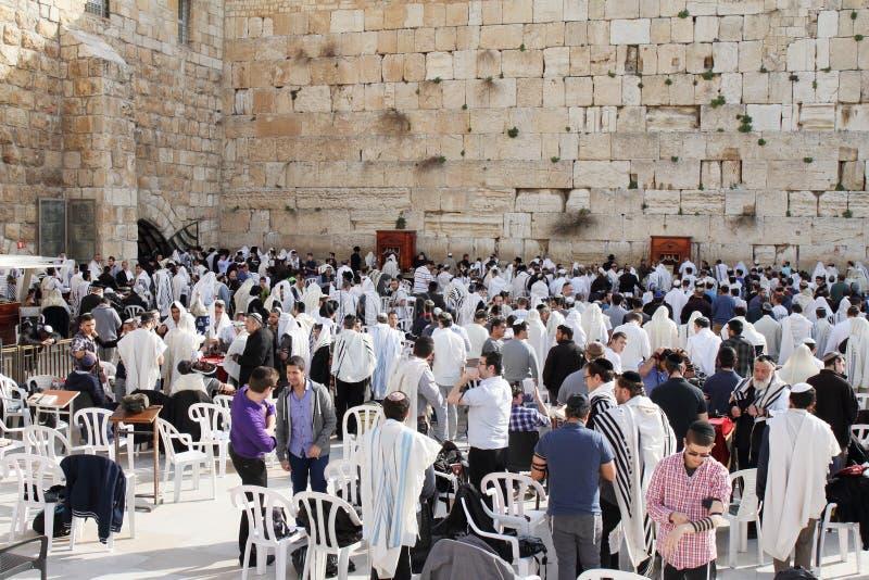 JERUSALEM, ISRAEL - 27. Februar 2017 - Juden an der Westwand stockbilder