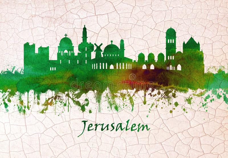 Jerusalem Israel horisont stock illustrationer