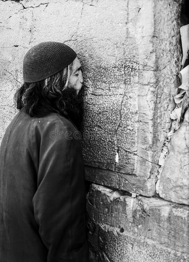 Download Man Praying At The Western Wall Editorial Stock Image - Image: 30023234
