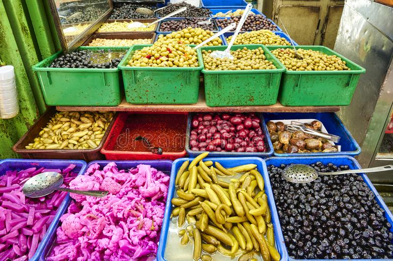 Jerusalem Israel. Pickels and olives in a market in the old city royalty free stock images