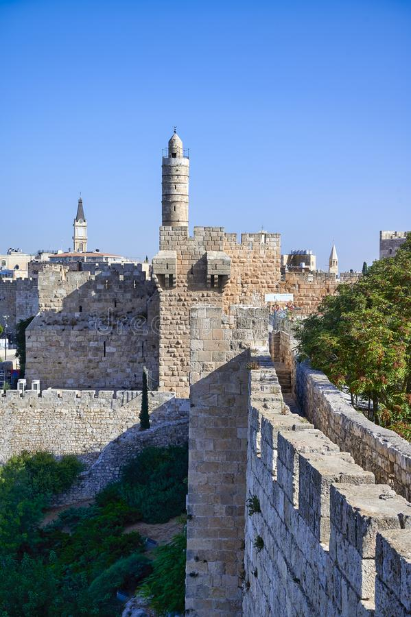 Jerusalem Israel. The ramparts of the old city stock photography