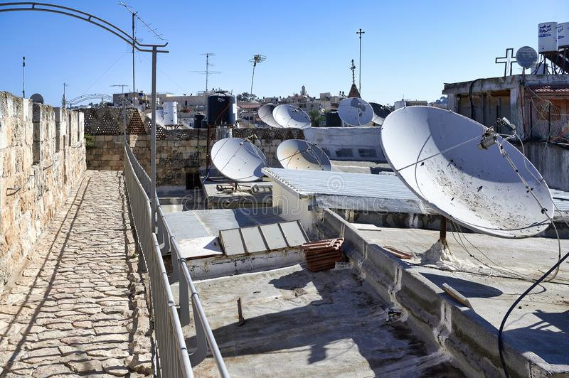 Jerusalem Israel. Satellite dishes on the roofs of the old city stock photo