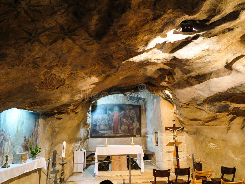 JERUSALEM, ISRAEL - JULY 13, 2015: Interior view of Grotto of Gethsemane royalty free stock photography