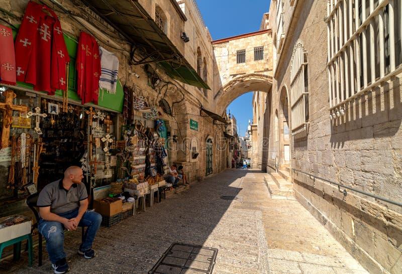 Narrow street at old market in Jerusalem, Israel. royalty free stock image