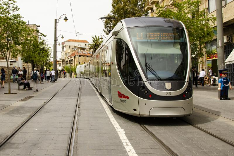 Jerusalem, Israel, 05.04.2019. Jerusalem light train street car waiting at the Mount Herzl station. Light train Israel stock image stock photos