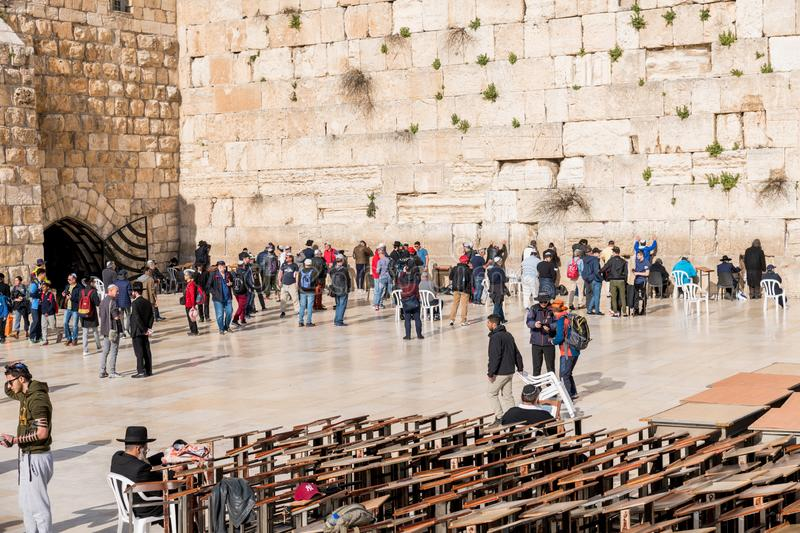 The western wall in Jerusalem stock photos