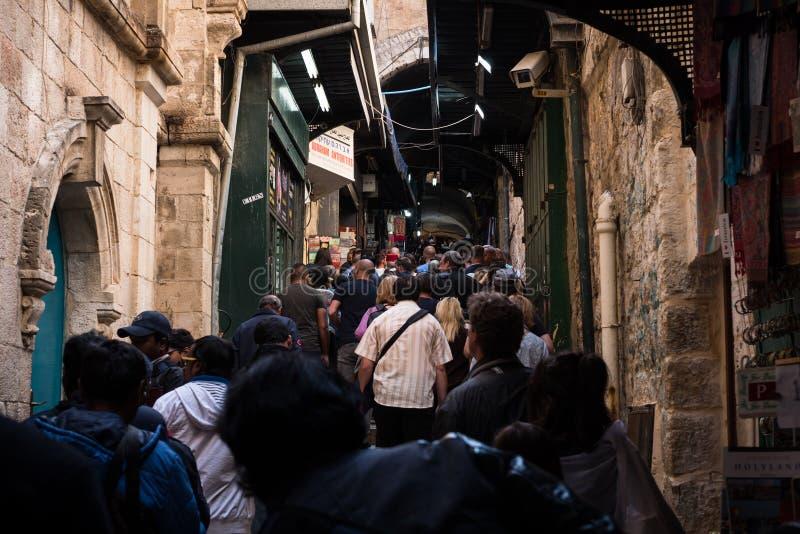 Pilgrims on the Via Dolorosa royalty free stock photography