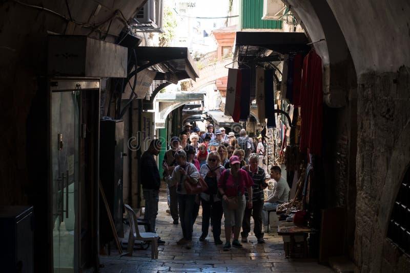 Pilgrims on the Via Dolorosa royalty free stock photos