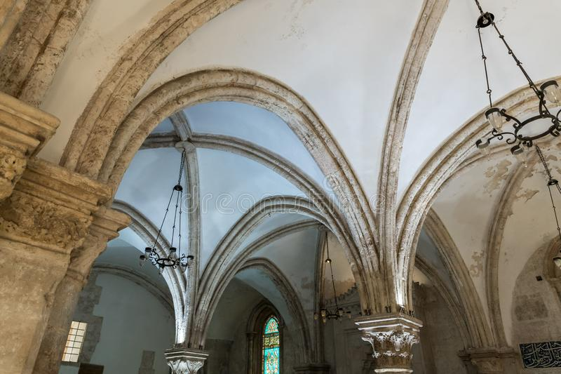 Ceiling and its supporting columns in the Last Supper - Cenacle - in old city of Jerusalem, Israel royalty free stock photo