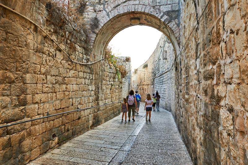 Jerusalem, Israel - October 21, 2019: Ancient Alley in Jewish Quarter, Jerusalem. Israel. Photo in old color image style. City, historic, architecture royalty free stock image