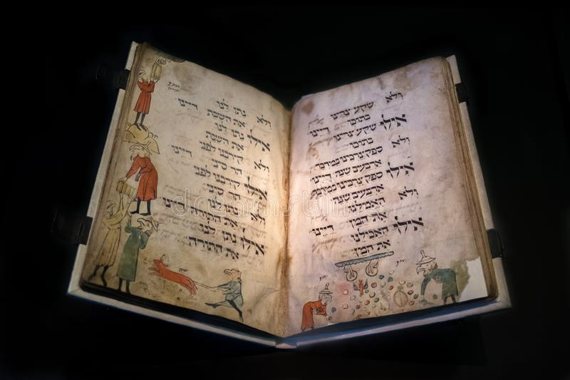 Birds' Head Haggadah - The world's oldest illustrated Passover manuscript displayed in Israel Museum, Jerusalem. Israel. JERUSALEM, ISRAEL stock photos
