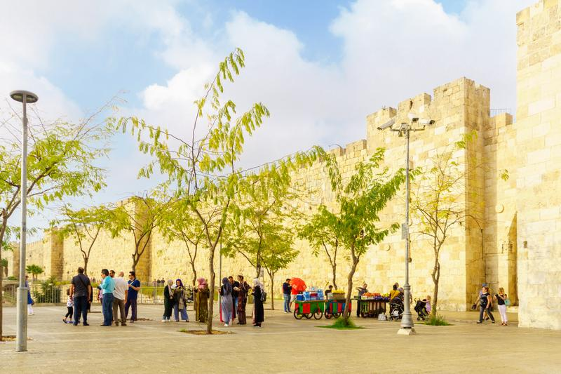 Jaffa gate in the old city walls, in Jerusalem stock image