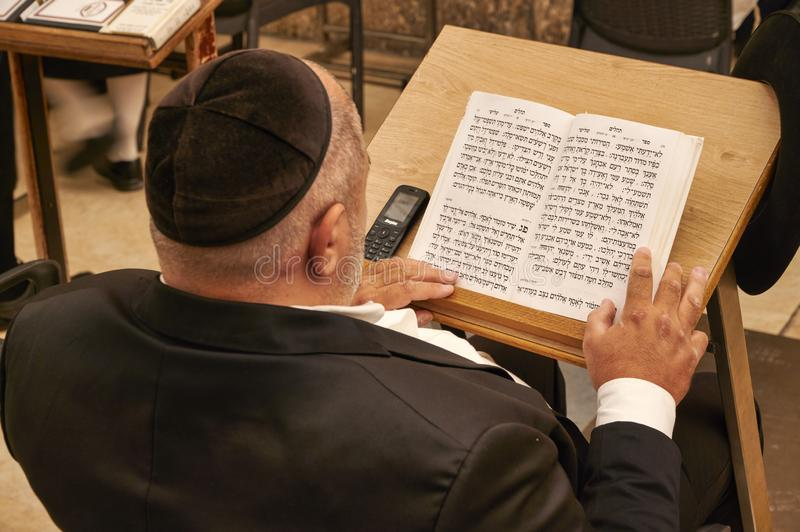 Jerusalem Israel. Orthodox jews praying at the wailing wall stock photos