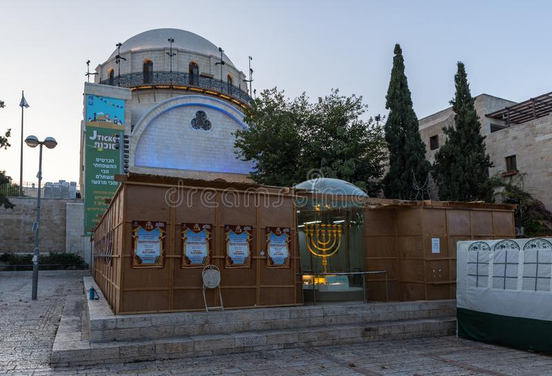 Big Sukkah in the evening near the Hurva Synagogue in the old city of Jerusalem, Israel. Jerusalem, Israel, 28, September, 2018 : Big Sukkah in the evening near royalty free stock photos