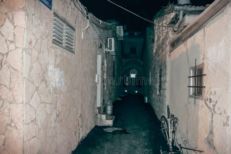 Silent street at night in Nachlaot district of Jerusalem, Israel. Jerusalem, Israel, September 10, 2015 : Silent street at night in Nachlaot district of stock photography