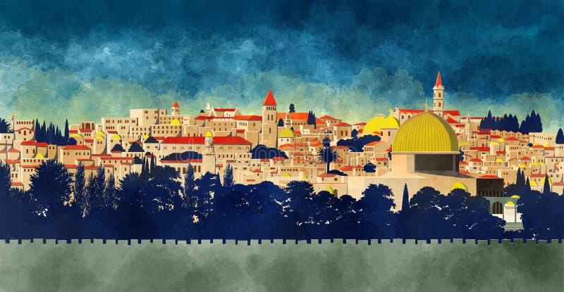 Jerusalem Israel: sikt av kupolen av vagga och den gamla staden stock illustrationer