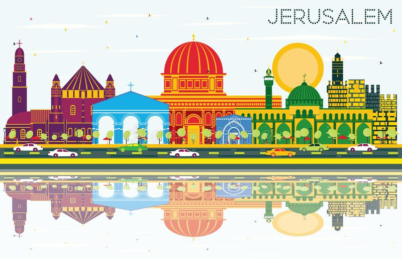 Jerusalem Israel Skyline with Color Buildings, Blue Sky and Reflections. Vector Illustration. Business Travel and Tourism Concept with Historic Architecture royalty free illustration
