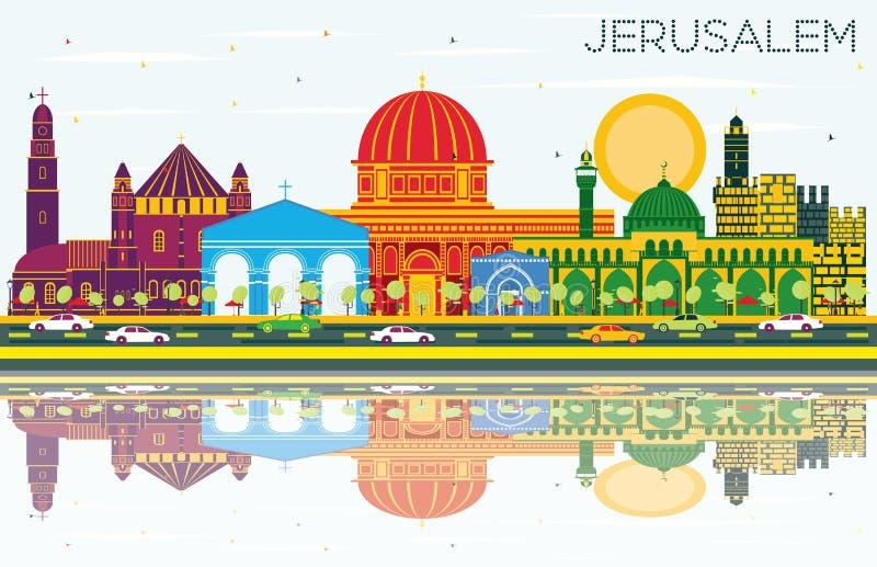 Jerusalem Israel Skyline med färgbyggnader, blå himmel och Refl royaltyfri illustrationer